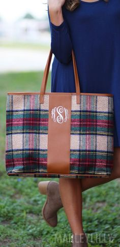 This Monogrammed Plaid Tote Bag is EVERYTHING! Shop now at https://marleylilly.com/product/monogrammed-plaid-tote-bag/