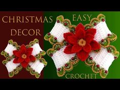 How To Crochet A Bow With Christmas Flower - Crochet Ideas Christmas Stockings, Christmas Wreaths, Christmas Decorations, Xmas, Christmas Ornaments, Holiday Decor, Crochet Carpet, Crochet Projects, Crochet Ideas