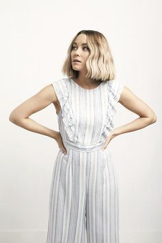 Lauren Conrad wearing an LC Lauren Conrad Striped Ruffle Cropped Jumpsuit | Available at Kohl's