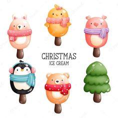 Christmas Ice Cream, Christmas Donuts, Christmas Gingerbread, Christmas Humor, Christmas Art, Vector Christmas, Christmas Ornaments, Cute Ginger, Cookie House