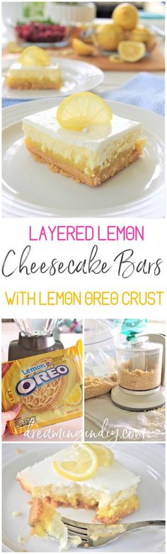Yummy Lemon Sour Cream Cheesecake Dessert Bars with Lemon Oreo Crust - Perfect for Mother's Day Brunch - Easy Layered Treats Recipe by Dreaming in DIY