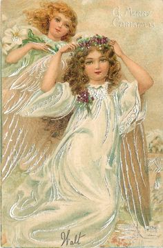 A HAPPY CHRISTMAS full length angel in swirling white robe holding violet circlet on head, another angel behind left - TuckDB Christmas Past, Christmas Images, White Christmas, Angel Halo, Angels Beauty, Vintage Christmas Cards, Victorian Christmas, Circlet, Two Girls