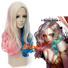 Long Curly Pink Blue Blonde for Batman Suicide Squad Harley Quinn Cosplay wig…