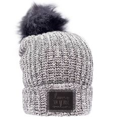 Black Speckled Pom Beanie (Black Leather Patch) - Love Your Melon  2a5d5158df10