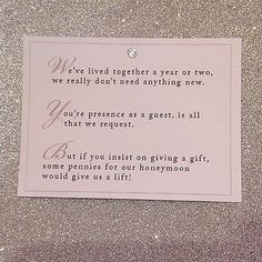 How Does A Wedding Gift List Work : about Wedding Gift Poem on Pinterest Wishing Well Poems, Wedding ...
