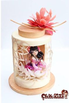 莲 Lian - modeling chocolate - Cake by ChokoLate Shared by Where YoUth Rise Gorgeous Cakes, Pretty Cakes, Amazing Cakes, Fondant Cakes, Cupcake Cakes, Cupcakes, Fondant Bow, Marshmallow Fondant, Fondant Tutorial
