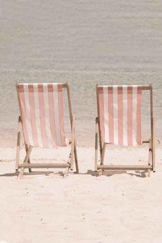 pink stripe beach chairs
