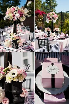 Blush White and Black Wedding Decor. Love the Black and White Striped Chair Covers!