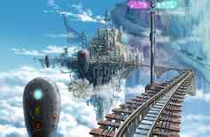View an image titled 'Floating City Train Tracks Art' in our Ar tonelico: Melody of Elemia art gallery featuring official character designs, concept art, and promo pictures. Fantasy City, Fantasy Places, Anime Fantasy, Fantasy World, Fantasy Art Landscapes, Fantasy Landscape, Steampunk City, Monopole, Sci Fi City