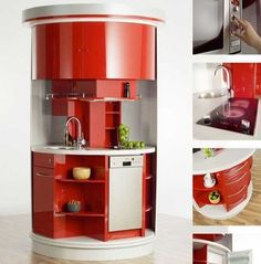 Designs That Inspire Beautiful And Multifunctional Furniture For Small Kitchen Space Saving. Futuristic Furniture Small Kitchen Space Saving Ideas With Red Brave Round Shaped Corner One Stop Multifuntional Kitchen Cabinetry Design Idea Small Room Layouts, Small Room Design, Contemporary Kitchen Design, Interior Design Kitchen, Contemporary Furniture, Modern Design, Small Space Solutions, Compact Kitchen, Functional Kitchen