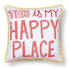 "The Happy Place Throw Pillow 17""x17"" in Multicolor from the Pillowfort Marveous Manor collection puts a sweet message where your little one rests their head. The kids' throw pillow has a fun font in a peachy color that lets everyone know that snuggled into bed is the perfect spot. ""This is my happy place"" reads the pillow case with yellow piping, great for a boy's or girl's room."