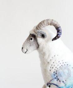 Felted Ram  Hugo.  Art Toy Marionette Sheep by TwoSadDonkeys