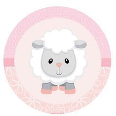 Baby Lamb in Pink: Toppers or Free Printable Candy Bar Labels. Dibujos Baby Shower, Scrapbook Bebe, Eid Stickers, Candy Bar Labels, Eid Cards, Baby Sheep, Slider Cards, Baby Lamb, Party Decoration