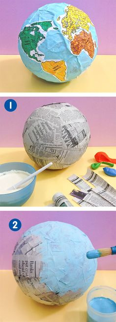 Make Globe of Paper Mache For School Project - ArtsyCraftsyDad