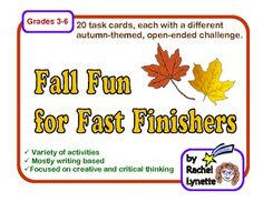 FREE Fall Fun for Fast Finishers Task Cards.