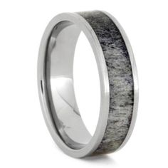 Antler And Titanium Wedding Band For Hunters, Size 13-RS9397