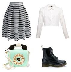 """Untitled #11"" by mcannon1015 ❤ liked on Polyvore featuring Dr. Martens, Chicwish and Betsey Johnson"