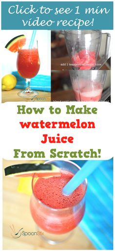 Learn how to make fresh watermelon juice from scratch. No sugar added. You only need watermelon, lemon juice and ice for this recipe. Watermelon And Lemon, Watermelon Recipes, No Sugar Added Recipe, Quick Recipes, Healthy Recipes, Drinks Alcohol Recipes, Alcoholic Drinks, Beverages, Cocktails