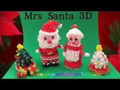 Rainbow Loom Santa Claus 3D Charm/Holiday/Christmas/Ornament - How to Loom Bands Tutorial - YouTube