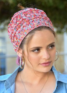 """🌸🌼🌸ONE TIE HEADBANDֱֱ!! Stately Colorful Lace flowers handmade headband fashionable and so comfortable. This """"Mitpachat"""" is worn for show some hair. #headscarf #Inspire #HeadwrapsStyle #Turban #summerstyle #beautiful #beauty #fashion #style #love #jew #jewish #judaic #judaica #judaism #hebrew #hebrewlanguge #ashkenazi #religion #religious #israel #israeli #tichel #tichels #mitpachat #headcovering #modesty #beautiful #jewishwomen #mitpachatrap #haircovering Tie Headband, Handmade Headbands, Judaism, Lace Flowers, New Pins, Turban, Head Wraps, Israel, Religion"""
