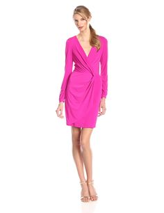 Maybe a little too much waist emphasis, but workable. #BW #work #date | Jessica Simpson Women's Long-Sleeve Wrap Front Dress at Amazon Women's Clothing store: