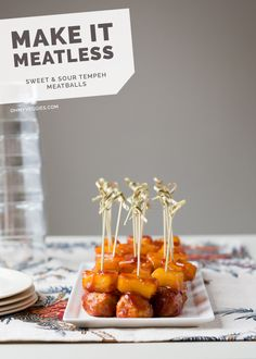 Sweet and Sour Tempeh Meatballs are a vegan (vegetarian) appetizer that will wow at holiday parties