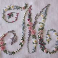 Elisabetta ricami a mano: Soffocata dai fiori Elizabeth Hand embroidery: Suffocated by flowers M - beautiful embroidery monogram ℳarina, Letter ℳ, Monogram Embroidery Alphabet, Embroidery Monogram, Paper Embroidery, Learn Embroidery, Silk Ribbon Embroidery, Hand Embroidery Patterns, Vintage Embroidery, Cross Stitch Embroidery, Embroidery Sampler