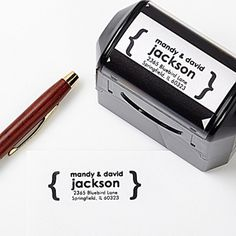 Create a professional executive gift with the Modern Address Self-Inking Stamper. Find the best personalized office gifts at PersonalizationMall.com