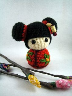 This crochet kokeshi doll is too cute!! Would love to do this!