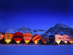 Hot-Air Balloon Festivals From Around The World Fill The Sky With Orbs Of Vivid Colors Another 9-day festival that takes place at the end of January. The night-glow against the stunning backdrop of the Alps is not to be missed.