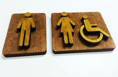 Señales wc en relieve madera www.logovision.es