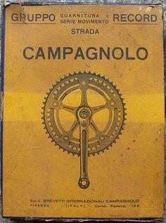 Vintage Campagnolo Chainset Box by Paris-Roubaix, via Flickr