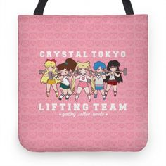 "Crystal Tokyo Lifting Team. Get swol with Sailor Scouts! Join the Crystal Tokyo Lifting Team and channel the Sailor Scout's strength into your next workout. This design features an illustration of Mars, Mercury, Moon, Jupiter and Venus working out and the phrase ""Crystal Tokyo Lifting Team Getting Sailor Swole."""