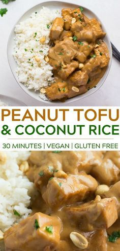 is all it takes to make the most delicious Peanut Tofu with Coconut Rice! Made with crispy baked tofu, peanut butter and Minutes is all it takes to make the most delicious Peanut Tofu with Coconut Rice! Made with crispy baked tofu, peanut butter and more! Vegan Dinner Recipes, Cooking Recipes, Healthy Recipes, Rice Vegan Recipes, Vegetarian Recipes Tofu, Vegan Recipes Asian, Easy Tofu Recipes, Recipes With Coconut Milk, Peanut Recipes