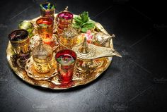 Golden tea table decoration by LiliGraphie on @creativemarket