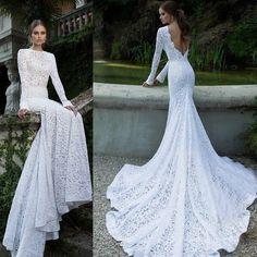 批发白色蕾丝覆盖长袖圆领露背拖地修身美人鱼晚礼服