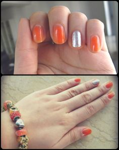 orange silver #nails #nailart