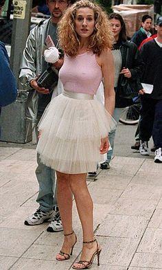 celeb trend Carrie SATC purple pleated dress - 50 Best Carrie Bradshaw Fashion Moments