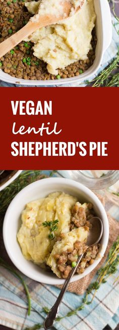 This hearty vegan shepherd's pie is made with a base of savory lentils simmered up with a touch of whiskey and topped off with a crust of creamy garlic mashed potatoes.