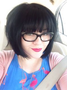 Blunt dark short bob with bangs. Proof straight across bangs look good. I hate side swept on my face