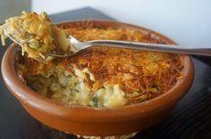 Es genial la mezcla de bacalao y calabacín de la receta del blog COCINANDO CON MONTSE.