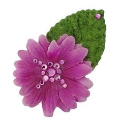 Michelle Roy - Swarovski Crystal - Mini Daisy Hair Clip - Magenta ** Click image to review more details.