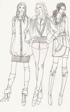 女装三人组...来自想画画啊的图片分享-堆糖