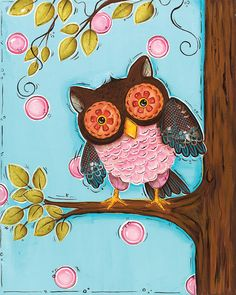Owl Wall Art Childrens Wall Art 11x14 by WallFlowerArtBotique, $21.00