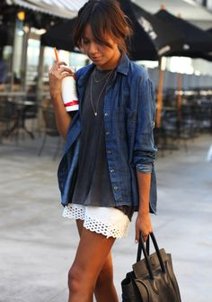 Sincerely, Jules relaxed staples with a chambray shirt over a worn tee and a crochet skirt