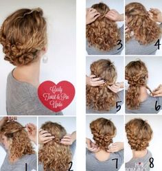 Hairstyle Tutorial - Easy Twist and Pin updo for curly hair - Hair Romance Curly Hair Dos, Super Curly Hair, Curly Hair Styles, Medium Hair Styles, Natural Hair Styles, Curly Up Do, Hair Updo, Curly Girl, Long Curly