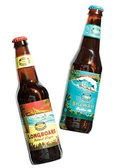"""""""Longboard"""" Island lager and """"Big Wave"""" golden ale, $9 for a six-pack, Kona Brewing Co"""