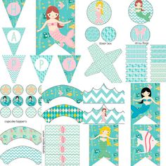 Mermaid Birthday Decorations Under Water Under the Sea Party Pack Package Digital Printable DIY Custom Hair Fish Ocean Water Summer Spring Girls- banners,…