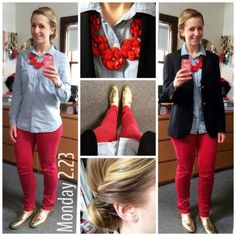 red skinny jeans + chambray shirt + navy blazer + red statement necklace + gold loafers
