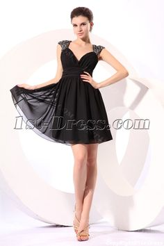 Charming Black Caps Sleeves Short Little Black Dress with Keyhole:1st-dress.com